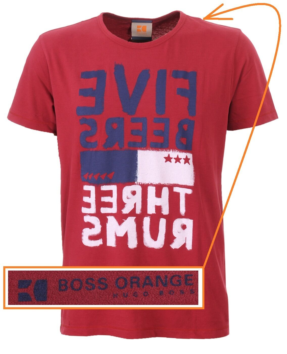 NWT Hugo Boss arancia Label by Tee Hugo Boss LOGO Graphic T-shirt Tee by in rosso Size L 843de2