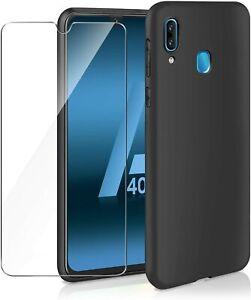 Pour SAMSUNG Galaxy A40 Coque Gel Silicone Arrière NOIR +1 Verre trempé