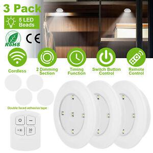 3-6-9X-5SMD-LED-luce-notturna-senza-fili-alimentato-a-batteria-telecomando-a-parete
