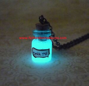 7a1ae41cc1a4 Details about Alice in Wonderland Drink Me Bottle Glow In The Dark Drink Me  Necklace Glowing