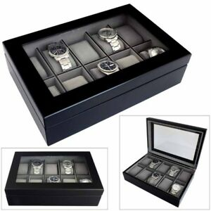 Astin-di-Londra-LUSSO-Java-10-in-legno-nero-Watch-Box-Case-con-interno-grigio