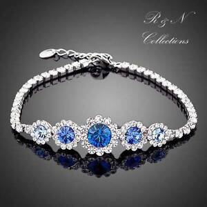 White-Gold-Plated-Made-With-Swarovski-Austrian-Crystal-Water-Drop-Bracelet-B162