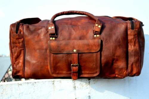 Bag Leather Goat Gym Duffle Men Travel Genuine Luggage Brown New S Vintage New