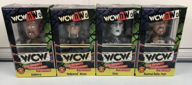 Vintage WCW NWO Wrestling Hulk Hogan, Sting, DDP, Goldberg Bobblehead Lot Of 4