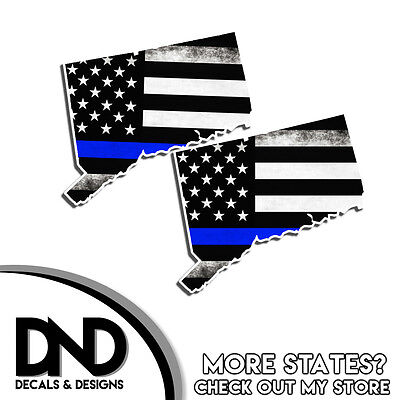 Indiana State Police Blue Line Decal IN Tattered American Flag Sticker 2 Pack