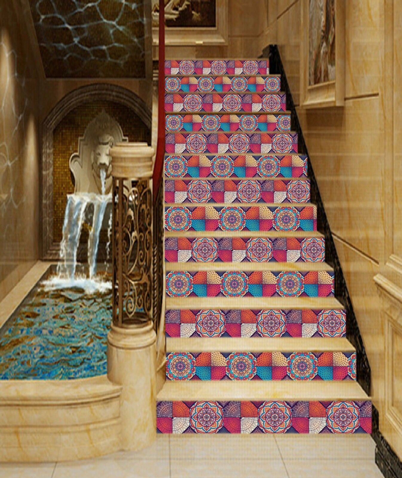 3D color Flower 307 Stair Risers Decoration Photo Mural Vinyl Decal Wallpaper UK