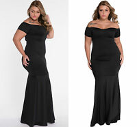 Ladies Black Plus Size Off Shoulder Fishtail Maxi Dress Prom Gown Evening 16 C44