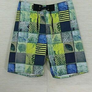 Vans-Board-Shorts-SZ-32-Unlined-Swim-Trunks-Geometric-Men-039-s-Streetwear-Drip-Hole