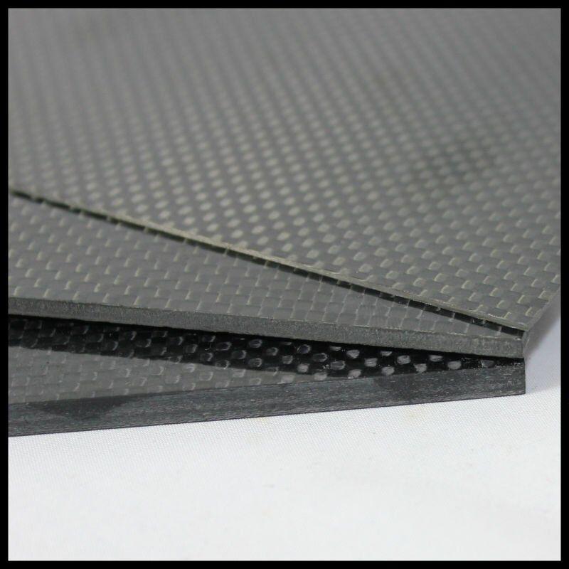 3K Hoja De Sarga 100% fibra de carbono 3 mm 400x500mm Acabado Brillo