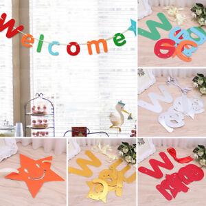 Welcome Hanging Letter Backdrop Paper Garland Banner Bar Ktv Wedding