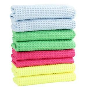 Details about Cleaning Cloths Set Water Absorption Waffles Microfiber Dish  Towels Kitchen Mats