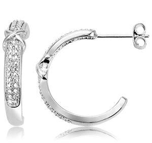 Diamond-Accent-Single-034-X-034-Hoop-Earrings