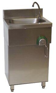 Edelstahl-Handwaschbecken-Waschbecken-500x400mm-mit-Unterschrank-Kniebedienung