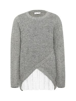 Name It NKFSIMDIA LS Long Knit Grey Melange Strickpullover Langarm Festlich