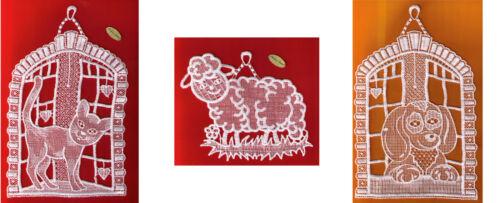 Fensterbild weiß Plauener Spitze ® Diverse Motive Fensterschmuck Katze Schaf