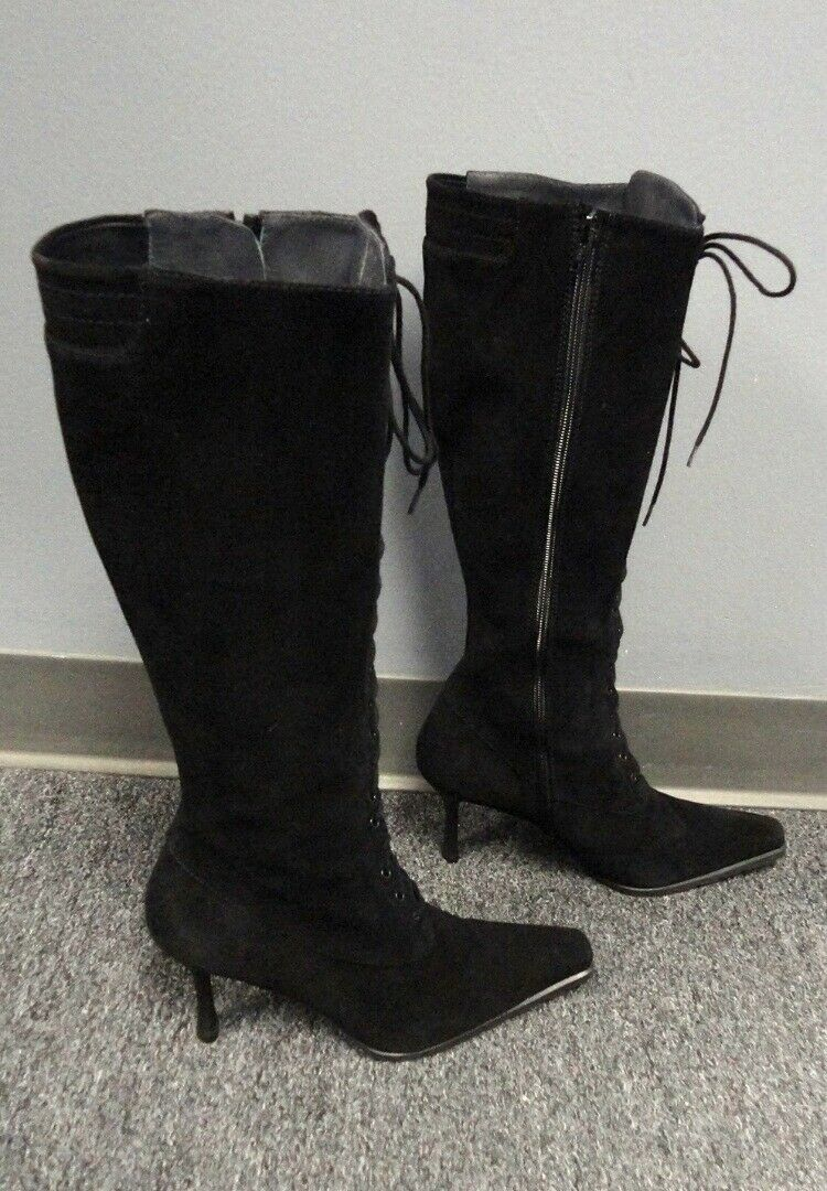 STUART WEITZMAN Black Solid Suede Lace Up Pointed Toe Boots Size 10 B4681
