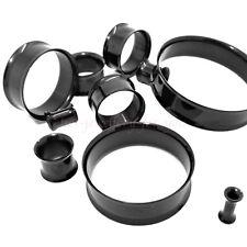 Black Flesh Tunnel Ear Plug Double Flared Surgical Steel Stretcher 3mm - 40mm