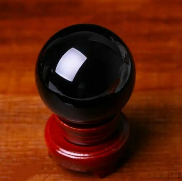 3-4cm Stand Natural Black Obsidian Sphere Large Crystal Ball Healing Stone Gift