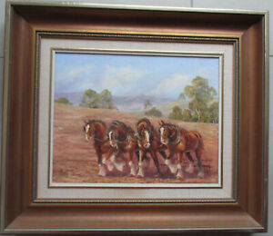 Nice-Oil-painting-by-Kath-Jones-Clydesdales-Horses-35cm-x-27cm