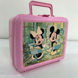 Mickey-Minnie-Mouse-Walt-Disney-Vintage-80s-Aladdin-Plastic-Lunchbox-Lunch-Box