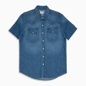 Levi-039-s-Men-Western-Classic-Denim-Shirt-Short-Sleeve-Pearl-Snaps-Medium-Blue-Wash