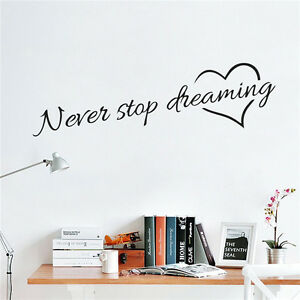 never stop dreaming wall stickers room quotes home decor diy art