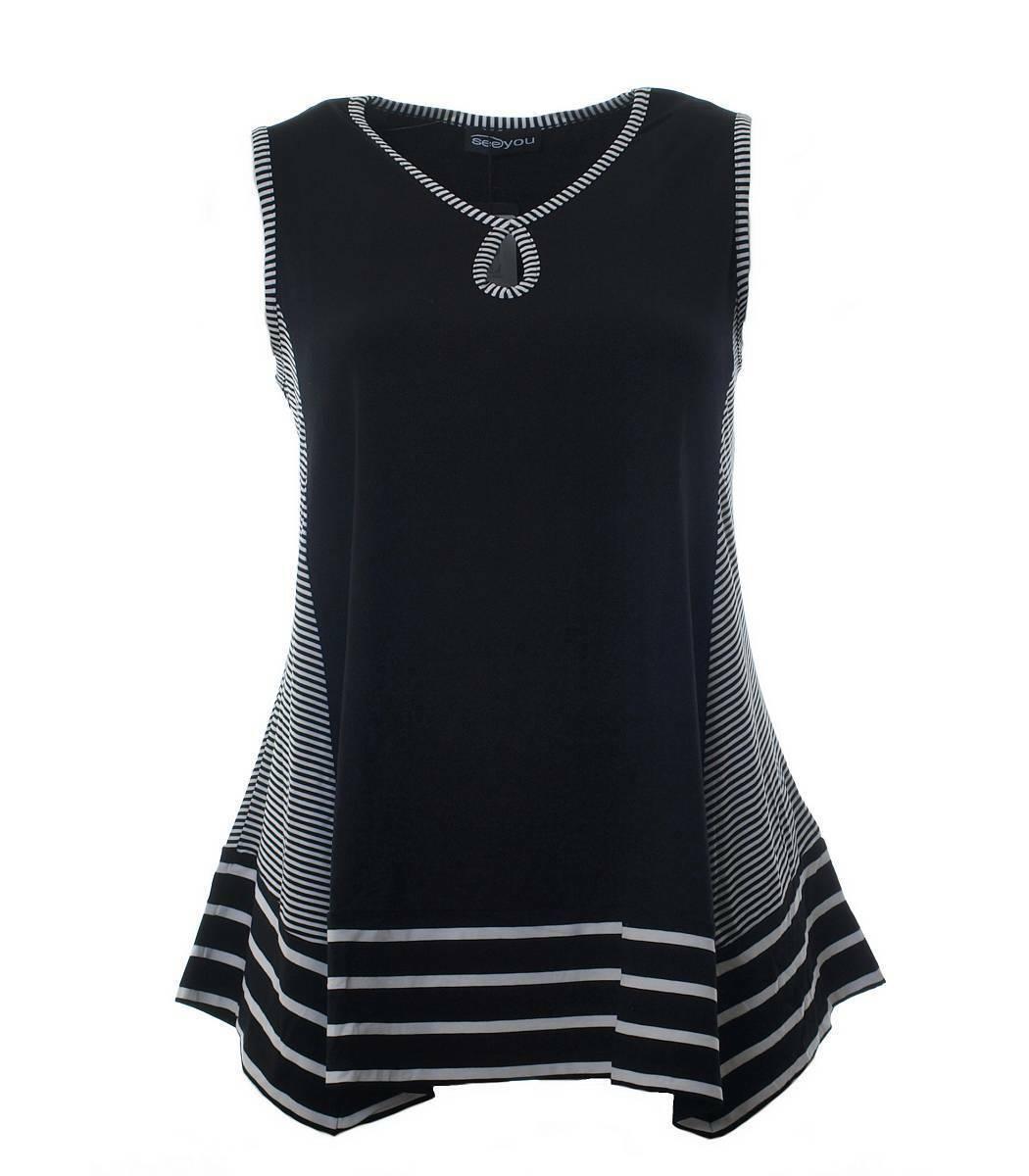 SEEYOU Longtop a-linea a-linea a-linea Stretch Top senza maniche per donna nero XXL 8fd894