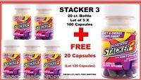 Stacker 3 Diet & Energy 100 20ct Bottle (lot Of 6 X) 100 + Free 20 = 120 Capsule