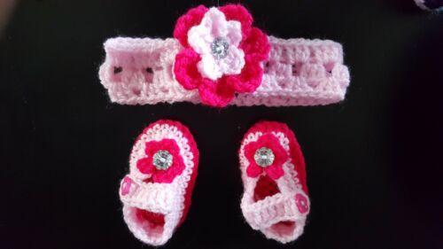 *New Handmade crochet baby girl headband /& booties early baby newborn to 12m