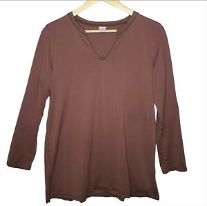 Peruvian-Connection-Shirt-Long-Sleeve-Split-Neck-Top-Pima-Cotton-Layering-Large