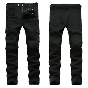 Men-Military-Denim-Biker-Jeans-Zippers-Stretch-Skinny-Trousers-Camo-Fit-Pants
