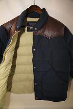 PENFIELD Blue  Leather Yoke Down Jacket Size L