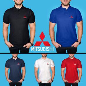 Mitsubishi-Polo-T-Shirt-COTTON-EMBROIDERED-Auto-Car-Logo-Tee-Mens-Short-Sleeve