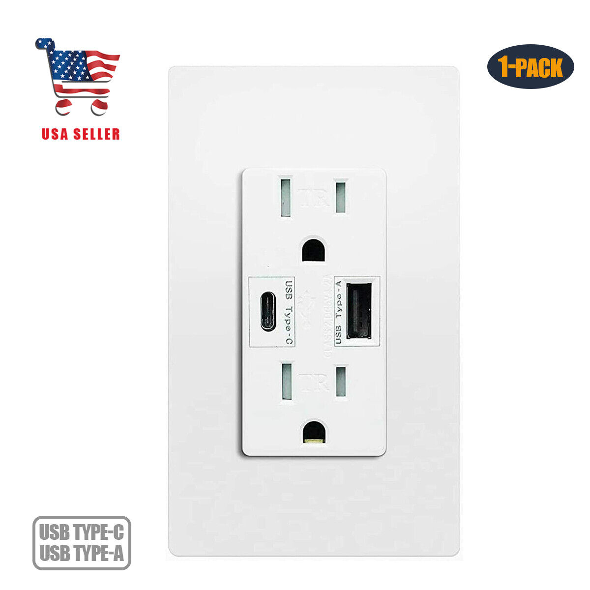 Lumary Smart Wi-Fi In-Wall Outlet 15 Amp 125 Volt Tamper Resistant Split Duplex