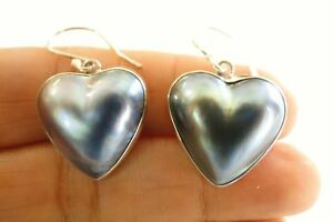 Heart-Shaped-Black-Mabe-Pearl-925-Sterling-Silver-Dangle-Drop-Earrings