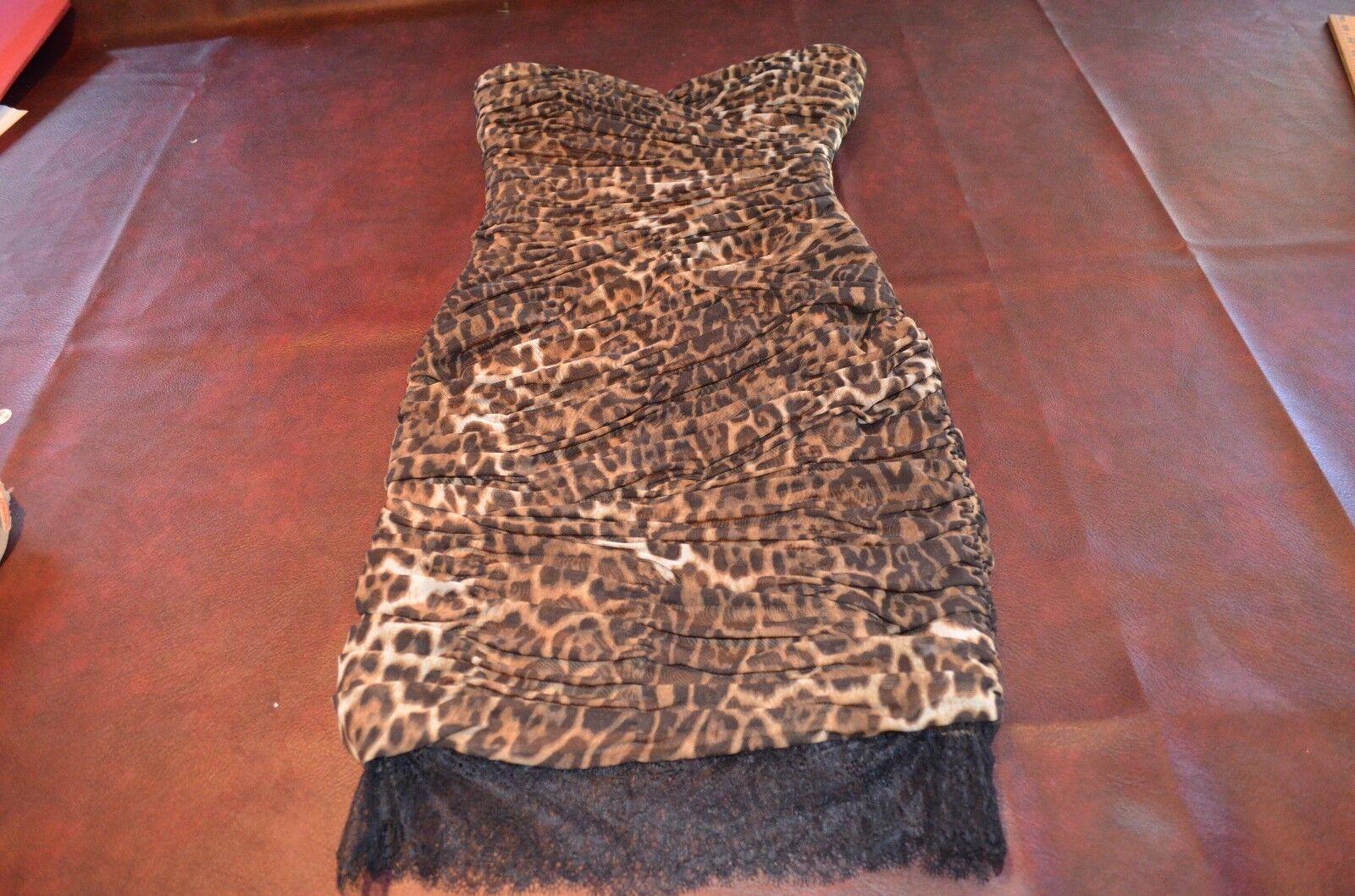BCBG Maxazria Animal Print Leapard  Cocktail Dress Strapless Formal BRAND NEW