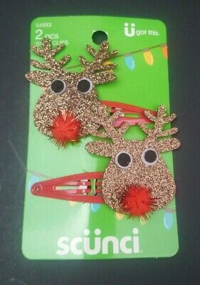 Scunci Holiday Christmas Glitter Candy Cane Hair Snap Clips Hairpin Barrette
