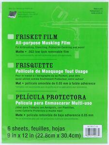 "Grafix Frisket Film Matte All Purpose Masking Film 9"" x 12"" Low Tack 6 Sheets"