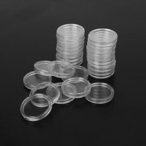 100Pcs-26mm-Clear-Round-Plastic-Coin-Holder-Capsule-Container-Storage-Case
