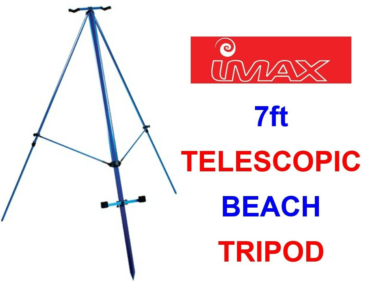 IMAX FR 7ft blueE TELESCOPIC BEACH TRIPOD SEA FISHING BEACHCASTER ROD REST STAND