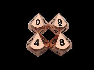 SkullSplitter 4 Pack of D10 - Copper Color with Black Numbering Metal Dice Set