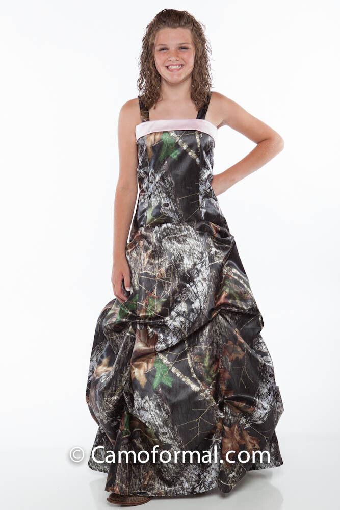 NEW Mossy Oak Camo Flowergirl or Jr. Bridesmaid Dress W/Pink Band Girls Size 14
