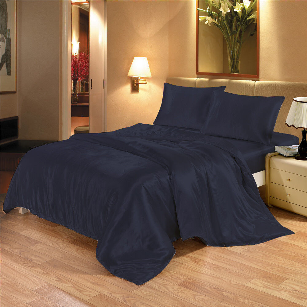 NEW Satin Bedding Set Duvet Cover Bed Sheet