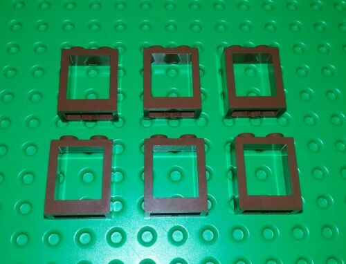 6 pieces *NEW* Lego Window 2x2x1 Brown Bricks Blocks Castles Buildings