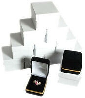 "12 Piece Black Velvet Ring Jewelry Gift Boxes Gold Trim 1 7/8"" x 2 1/8"" x 1 1/2"""
