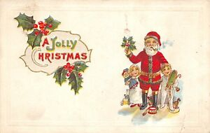 A-Jolly-Christmas-c1920-Embossed-Postcard-Santa-Claus-with-Children-amp-Toys