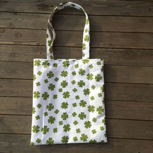 Printed Clover Polyester Eco Shopping Tote Shoulder Bag St Patrick Day Gift YL E