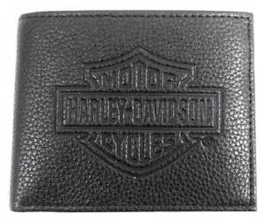 Harley-Davidson-Mens-B-amp-S-Embossed-Pocketed-Billfold-Leather-Wallet-MSB8361-BLACK