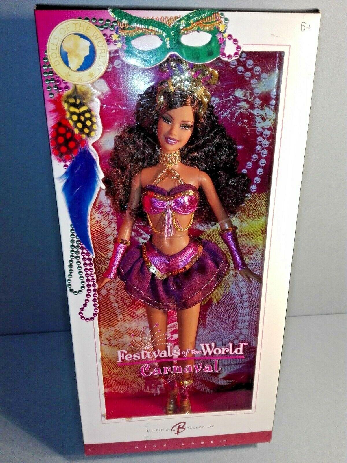 BARBIE CARNAVAL FESTIVALS OF THE WORLD NRFB - rosado LABEL model collection Mattel
