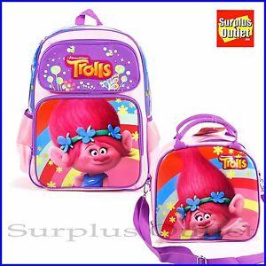 Trolls Backpack Lunch Bag 2pc Set 16'' Large School Backpack Lunch Bag Set